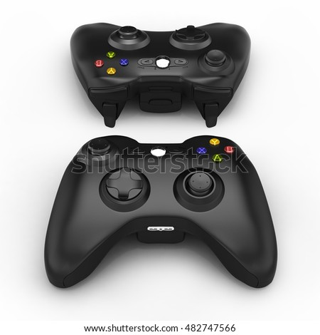 black gamepads isolated on white background 3d