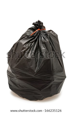 Black garbage bag isolated on white background - stock photo