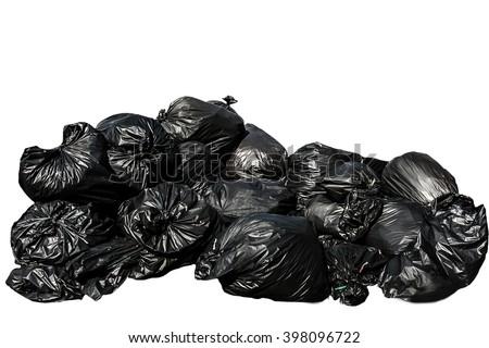 black garbage bag isolated on white background. - stock photo