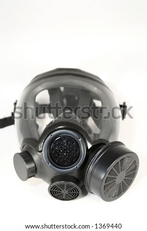 Black gas mask on a white background