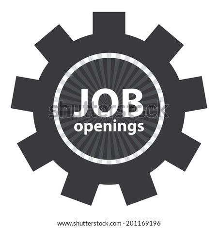 Black Gear Job Openings Icon or Label Isolated on White Background - stock photo