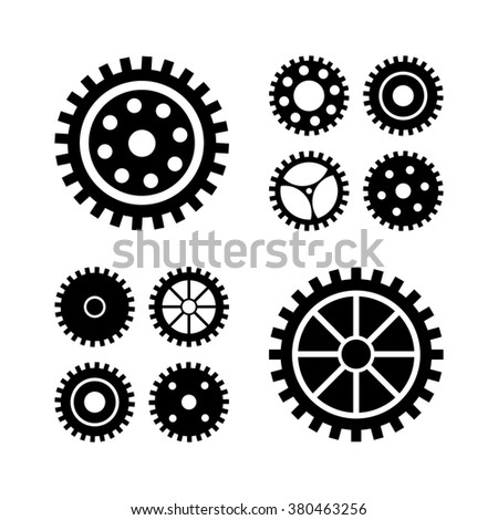 Black gears icons set. collection machine gear. Gears silhouette.Clock mechanism. Cogs and gears set. Design element.
