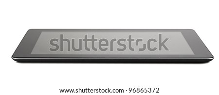 Black generic tablet pc on white background clipping path - stock photo