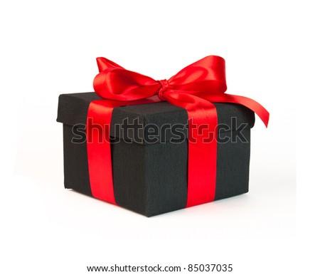 black gift box - stock photo
