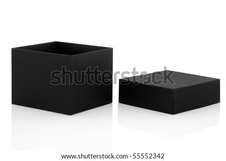 Black gift box open with lid to one side, isolated over white background with reflection. - stock photo