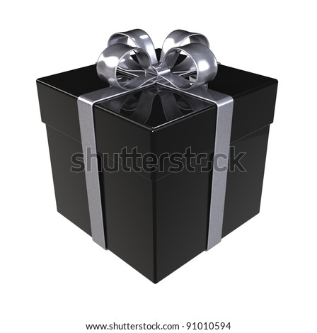 Black Gift Box. Silver ribbons, Isolated. - stock photo