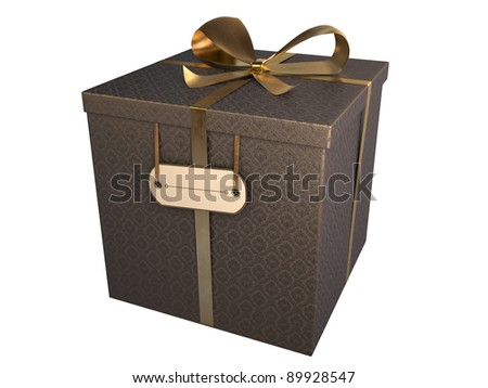 black gift box with baroque paper and golden bow, isolated on white - stock photo