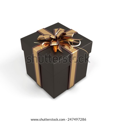 Black gift box with bow isolated on a white background. 3d render illustration.