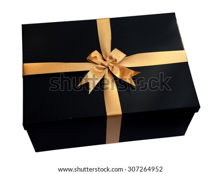 Black Gift box with gold ribbon and bow isolated on white (clipping path) - stock photo