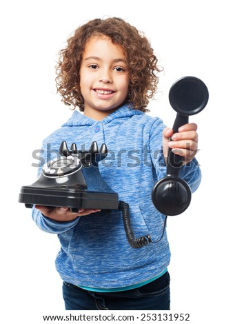 black girl with a phone - stock photo