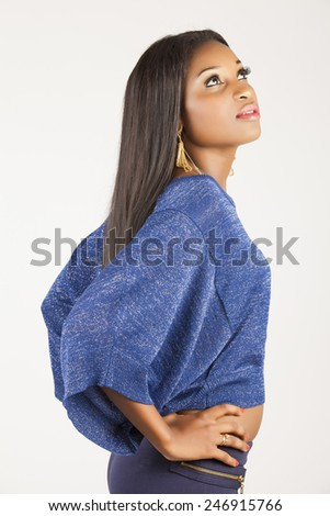 Black Girl with blue shirt - stock photo