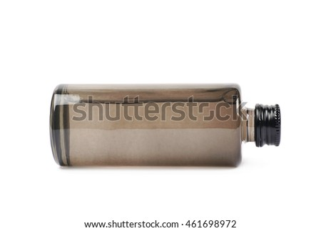 Black glass bottle vial isolated over the white background