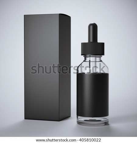 Black glass bottle with label and box on gray background. 3d rendering