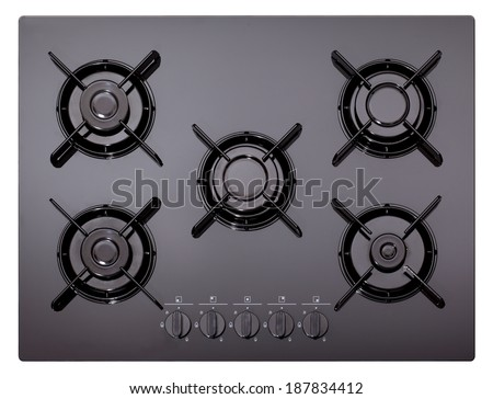 Black glass gas hob isolated on white - stock photo