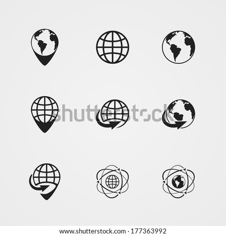 black globe earth icons set isolated illustration