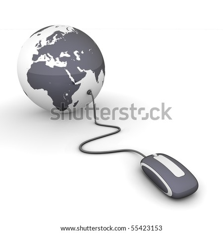 black glossy computer mouse connected to a black glossy globe - stock photo