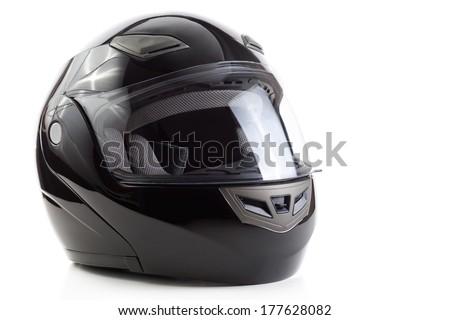 Black, glossy motorcycle helmet - stock photo