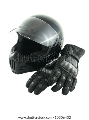 Black, glossy motorcycle helmet and leather gloves with carbon fiber protection
