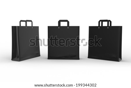 Black glossy paper bag isolated on white with clipping path  - stock photo