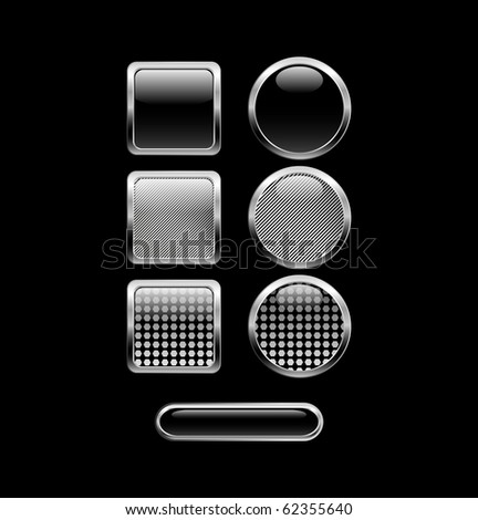 Black glossy web buttons. - stock photo