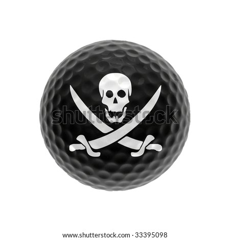 Black golf-ball with pirate-symbol isolated on white - stock photo