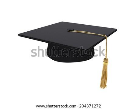 Black graduation cap isolated on white background - stock photo