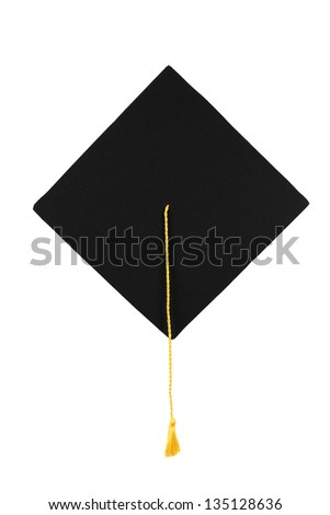 Black graduation cap with gold tassel isolated on white background
