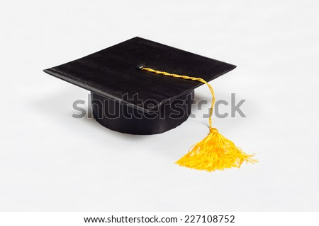 Black graduation cap with Yellow Tassel Isolated on White Background.