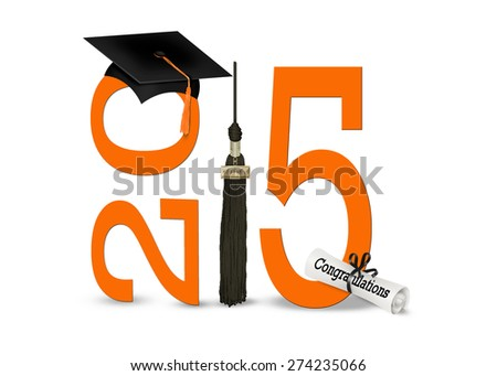 black graduation hat with tassel and orange 2015 on white background