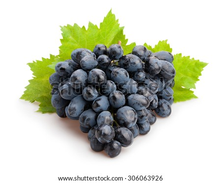 black grapes isolated - stock photo