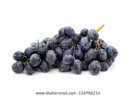 Black grapes.Isolated on a white background - stock photo