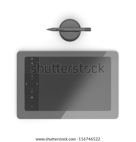 Black graphic tablet with pen - stock photo