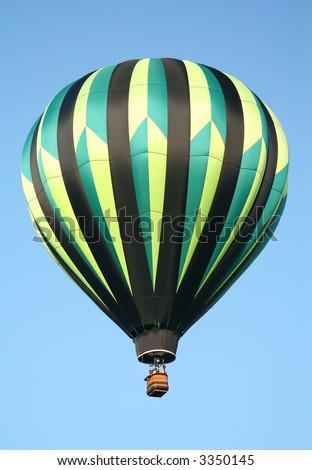 Black & Green Striped Hot Air Balloon - stock photo