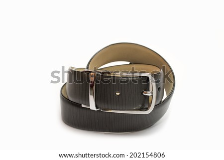 Black Grey Leather Belt  on White Background
