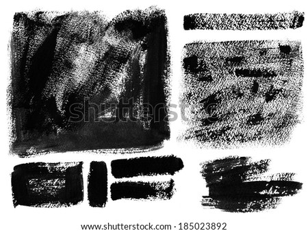 Black Grunge Background. Background painted by brush. - stock photo