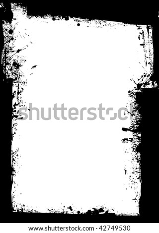 Black grunge background border with blank white space