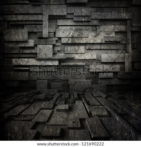 black grunge background  ; scratched metal , random  blocks - stock photo