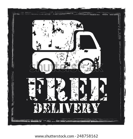 Black Grungy Square Free Delivery Sticker, Icon or Label Isolated on White Background  - stock photo