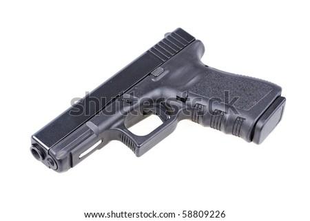 Black gun isolated on white - stock photo