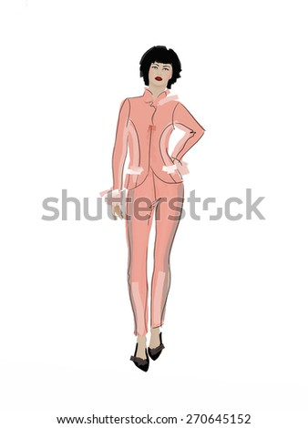 Black hair woman wearing pink suit. Office look. Fashion design sketch style Image. This beautiful model may be used for a graphic art or illustration. - stock photo
