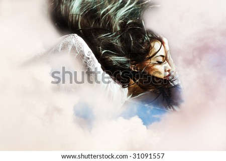 black hair woman with flying hair in the clouds - stock photo