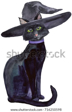 Black Halloween Cat With Witch Hat And Violet Collar Watercolor Isolated