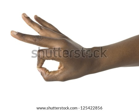 Black hand gesturing perfect - stock photo