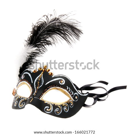 Black hand painted  Venice mask with feathers isolated on a white background  - stock photo