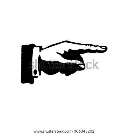 Black hand silhouette with pointing finger. Direction sign - stock photo