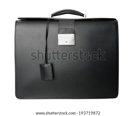 black handbag isolated on white - stock photo