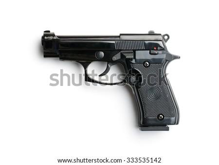 black handgun on white background - stock photo