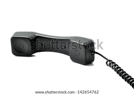 Black handset cord isolated on a white background - stock photo
