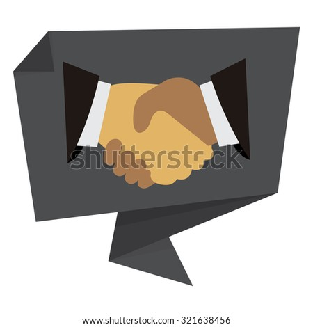 Black Handshake, Hand Holding Paper Origami Speech Bubble or Speech Balloon Infographics Sticker, Label, Sign or Icon Isolated on White Background - stock photo