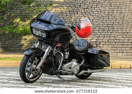 Black Harley Davidson Glide Motorcycle Red Stock Photo (Royalty Free